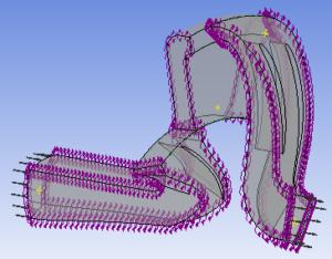 Рисунок. 3 Построенная расчетная модель проточной части ЦК с граничными условиями