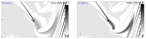 Рис.1. Распределение энтропии на роторе и статоре через межсеточную границу при 3 (слева), 10 (справа) гармониках
