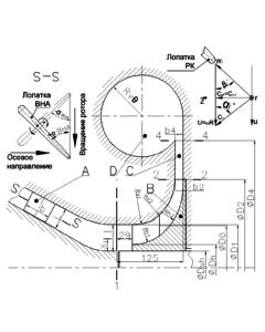 Рис. 1 Эскиз дозвуковой ступени в меридиональной плоскости