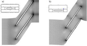 Figure 6. a) O4H mesh topology; b) H&I mesh topology (overall mesh size 1,15 million)