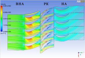 Рис.1. Линии тока и скорости потока в ступени. a) 10% высоты лопаток (у втулки)