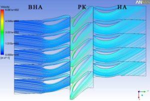 Рис.1. Линии тока и скорости потока в ступени. б) 50% высоты лопаток