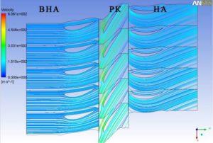 Рис.1. Линии тока и скорости потока в ступени. б) 90% высоты лопаток (у периферии)