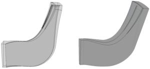 Рис. 3. Расчетные модели рабочих колес серии РК-6 и РК-5 (модели наложены друг на друга, отмечается изменение проточной части у выходной кромки)