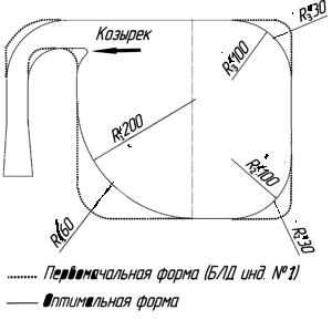 Рис.9. Оптимальная (сплошная) и базовая (пунктирная) форма сечения КСК